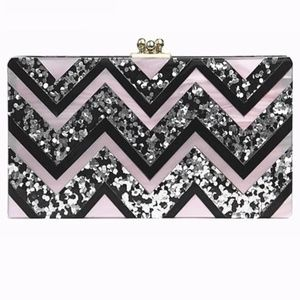 Wave Patchwork Acrylic Clutch bag NWT